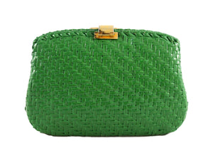 RODO green wicker clutch with gold and silver clasp