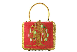 MIDAS OF MIAMI golden wicker handbag tree motif
