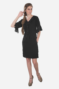 Women's black dress with pockets, ruffled dress, flared sleeves, evening wear, special occasion dress, semi-formal black dress, party wear #dresseswithpockets #blackdresseswithpockets #blackdress #formaldresses #dresses #dressesforwomen #classydress #classyblackdress #beautifulblackdress #darkdress #prettyblackdress #blackdresseswithpockets #elegantdress #perfectlittleblackdress #womensblackdress #blackdressforwomen #ruffleddress #blackcocktaildress
