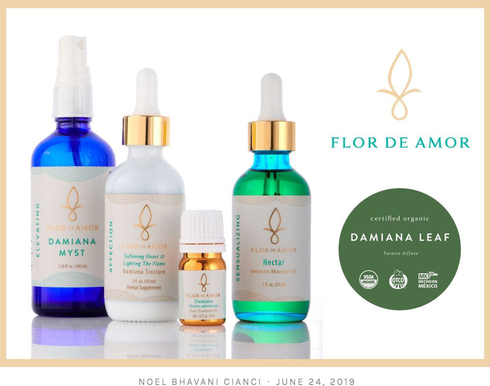Damiana infused products!  Damiana is an all natural libido and passion enhancer.  This sensual herb elevates your pleasure and arousal.