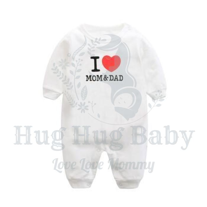 """I Love Mom & Dad"" Long Sleeves Romper 0-24M, Rompers & Jumpsuits - Hug Hug Baby"