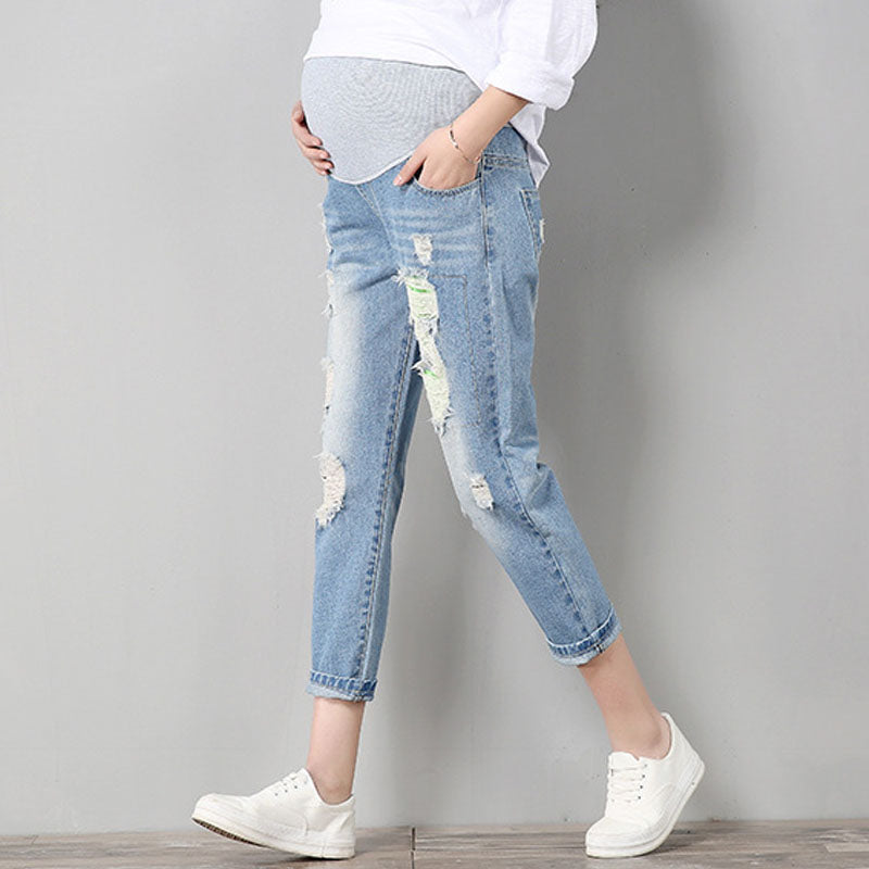 Maternity Fashion Ripped Capri Jeans M-3XL, Bottoms - Hug Hug Baby