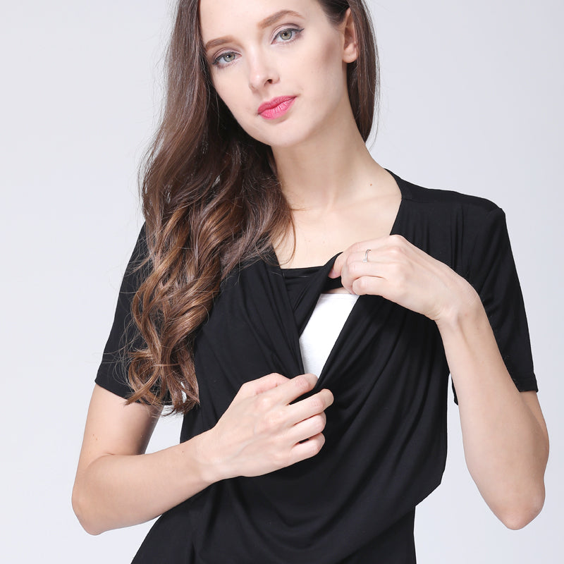 Short Sleeves Plain Nursing Top, Tops - Hug Hug Baby