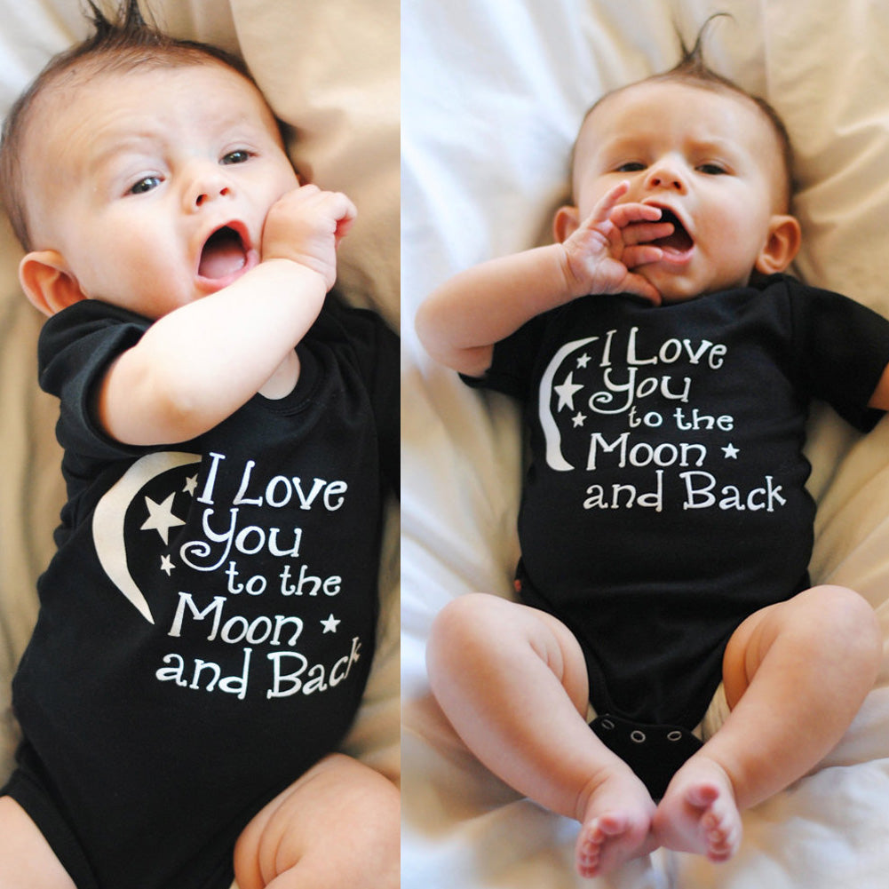 """I Love you to the moon and back"" Black Romper 0-12M, Rompers & Jumpsuits - Hug Hug Baby"