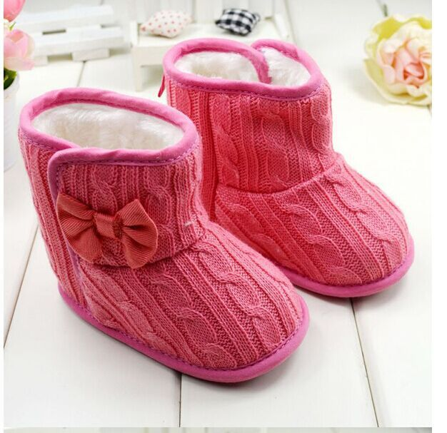 Knitted Flock Pattern Soft Sole Faux Fur Boots, Shoes - Hug Hug Baby
