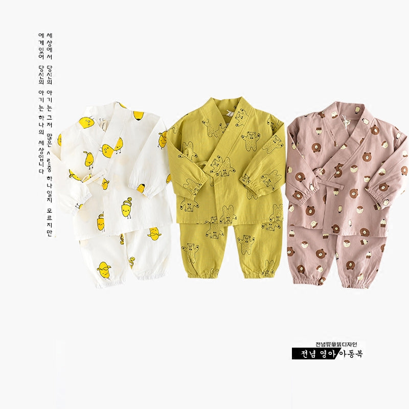 Long Sleeve Japanese Style Kimono Cartoon Pattern Sleepwear Set 6-24M, Sleepwear - Hug Hug Baby