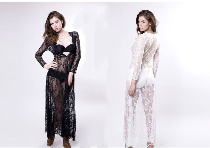 Elegant See-Through Lace Long Sleeve Dress Gown M-4XL, Photography - Hug Hug Baby
