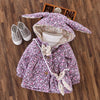 Floral Print Rabbit Ear Hooded Coat with a Bag 9-24M, Jackets & Coats - Hug Hug Baby