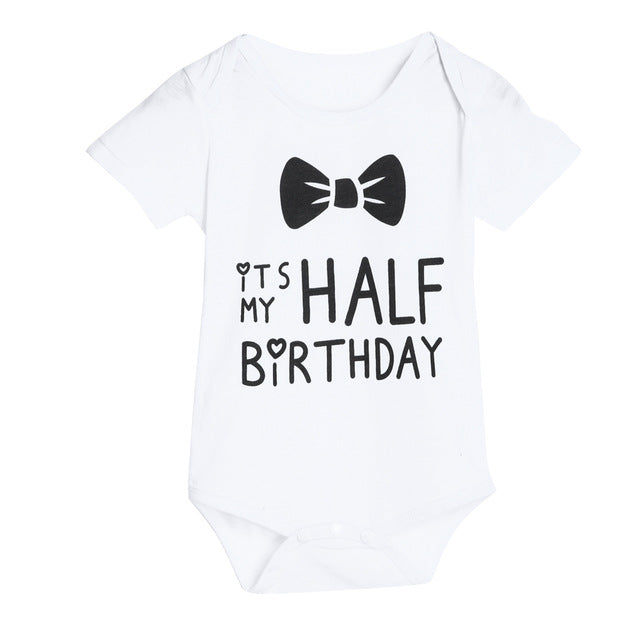 """It's My Half Birthday"" Romper 0-18M, Rompers & Jumpsuits - Hug Hug Baby"