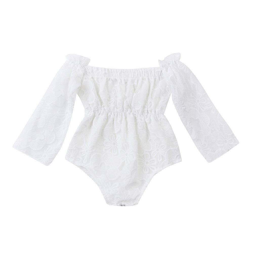 Lace White Long Sleeves Off Shoulder Rompers 0-24M, Rompers & Jumpsuits - Hug Hug Baby