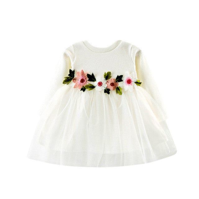 Baby Girls Long Sleeve Flowers Tulle Dress, Dresses & Skirts - Hug Hug Baby
