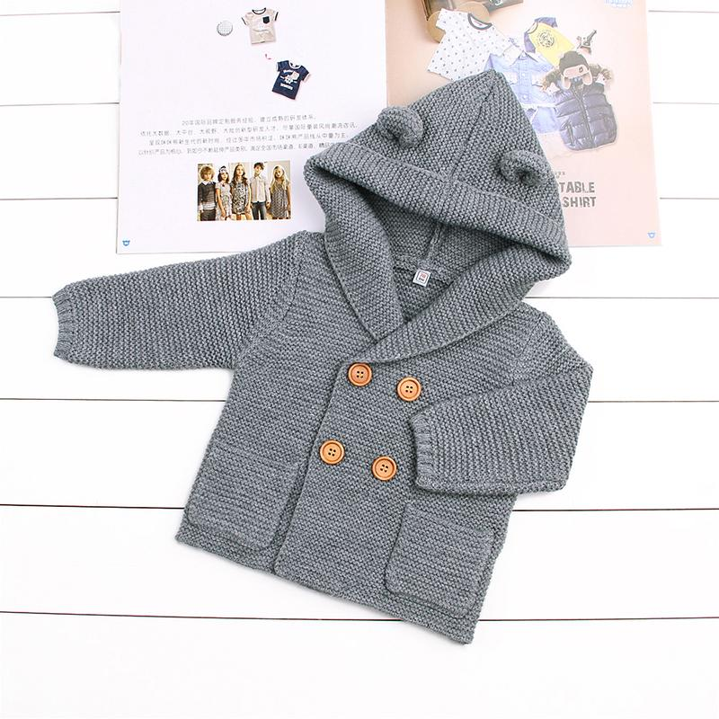 Knitted Cardigan With Hood Ears 6-24M, Jackets & Coats - Hug Hug Baby