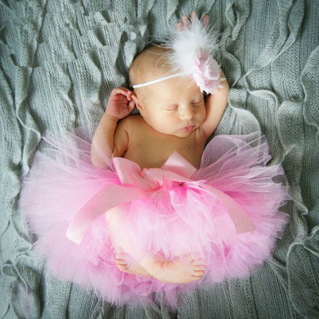 Newborn Baby Girls Feather Hairband & Tutu Dress (Pink), Photography - Hug Hug Baby