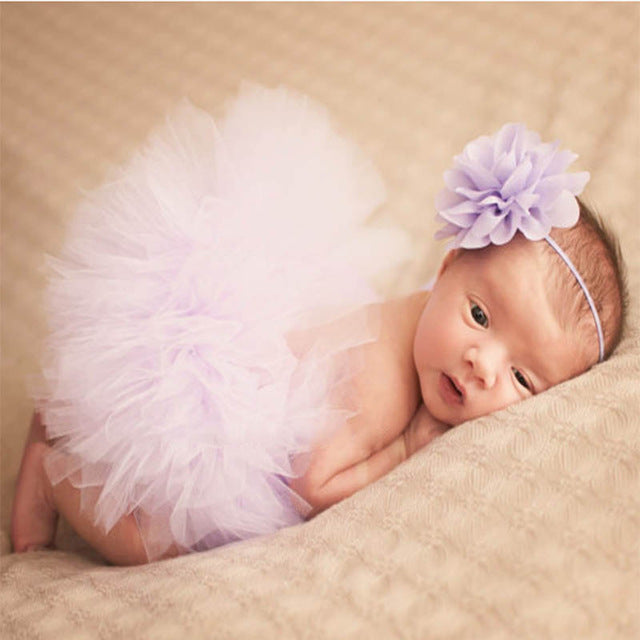 Newborn Baby Girls Flower Hairband & Tutu Dress (Baby Purple), Photography - Hug Hug Baby