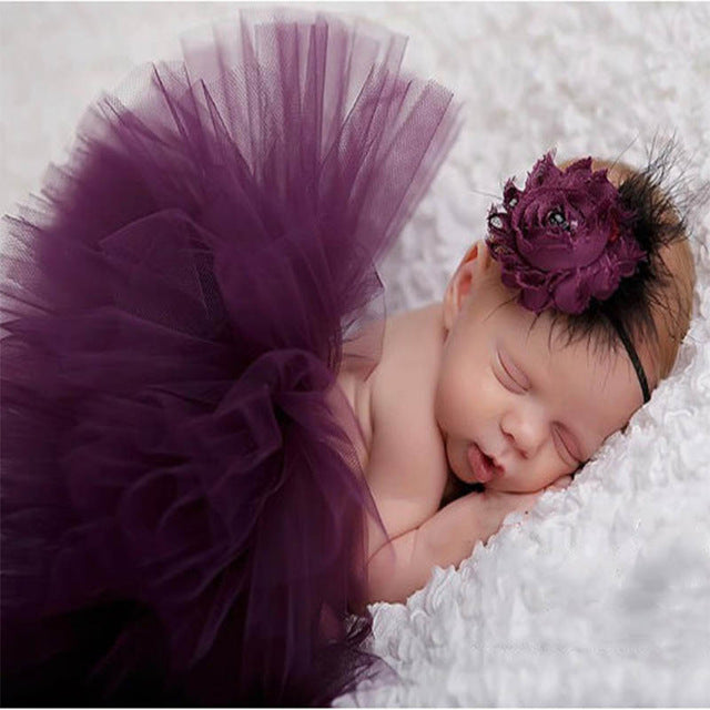 Newborn Baby Girls Flower Hairband & Tutu Dress (Violet), Photography - Hug Hug Baby