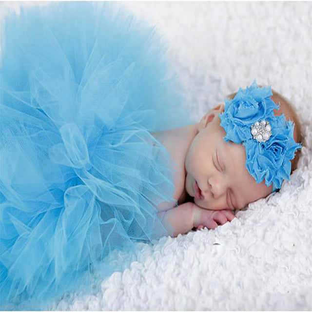 Newborn Baby Girls Hairband & Tutu Dress (Sky Blue), Photography - Hug Hug Baby