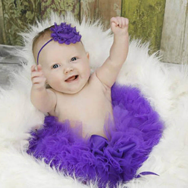 Newborn Baby Girls Flower Hairband & Tutu Dress (Purple), Photography - Hug Hug Baby