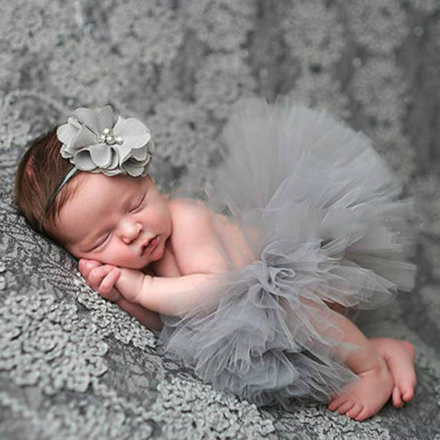 Newborn Baby Girls Flower Hairband & Tutu Dress (Grey), Photography - Hug Hug Baby