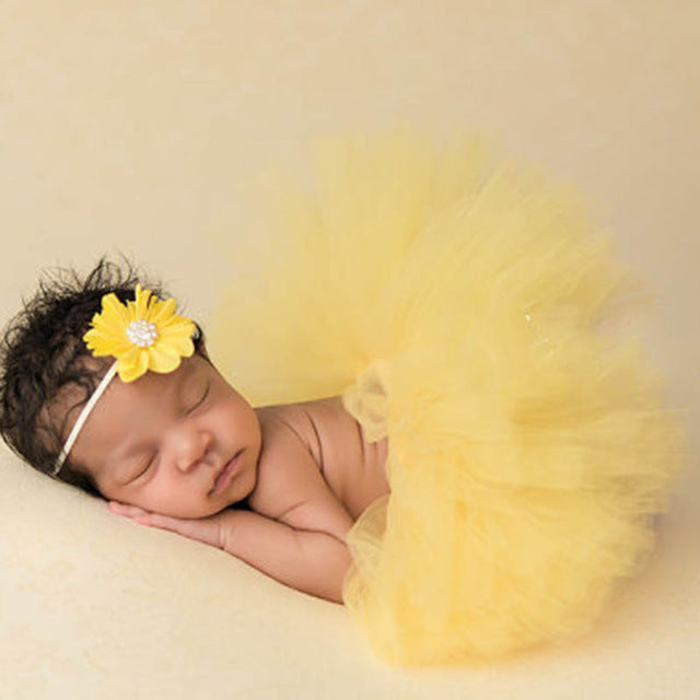 Newborn Baby Girls Flower Hairband & Tutu Dress (Yellow), Photography - Hug Hug Baby