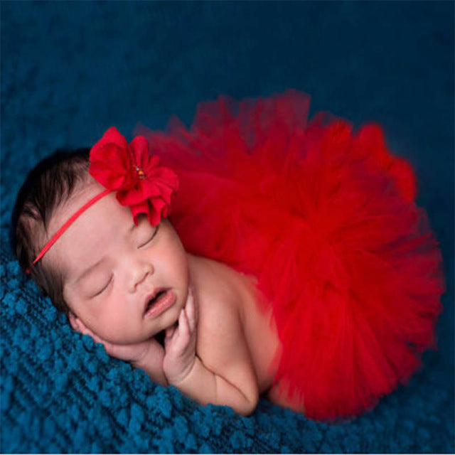 Newborn Baby Girls Flower Hairband & Tutu Dress (Red), Photography - Hug Hug Baby