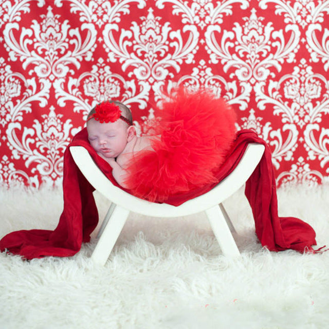 Newborn Baby Girls Hairband & Tutu Dress (Red), Photography - Hug Hug Baby