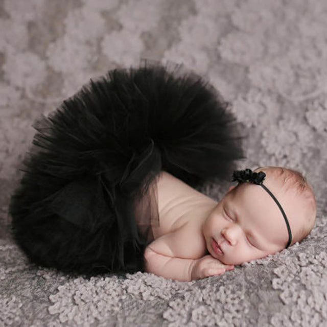 Newborn Baby Girls Hairband & Tutu Dress (Black), Photography - Hug Hug Baby