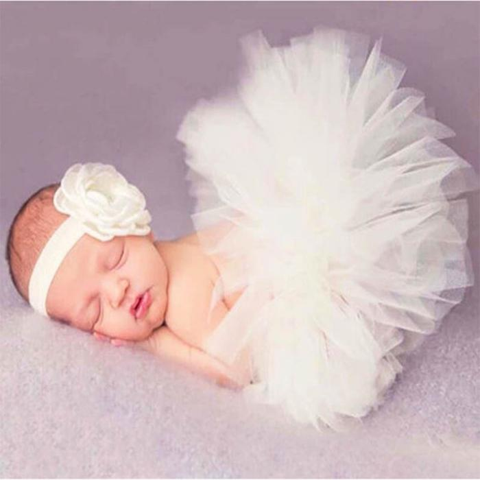 Newborn Baby Girls Flower Hairband & Tutu Dress (White), Photography - Hug Hug Baby