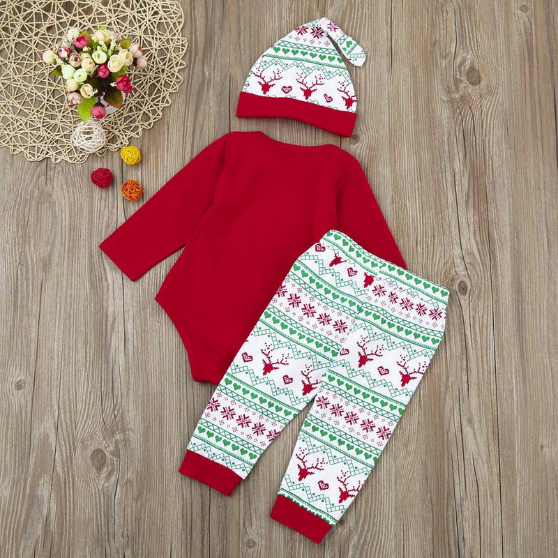 "Baby ""My 1st Christmas"" Romper+Pants+Beanie Christmas Outfits Set, Rompers & Jumpsuits - Hug Hug Baby"