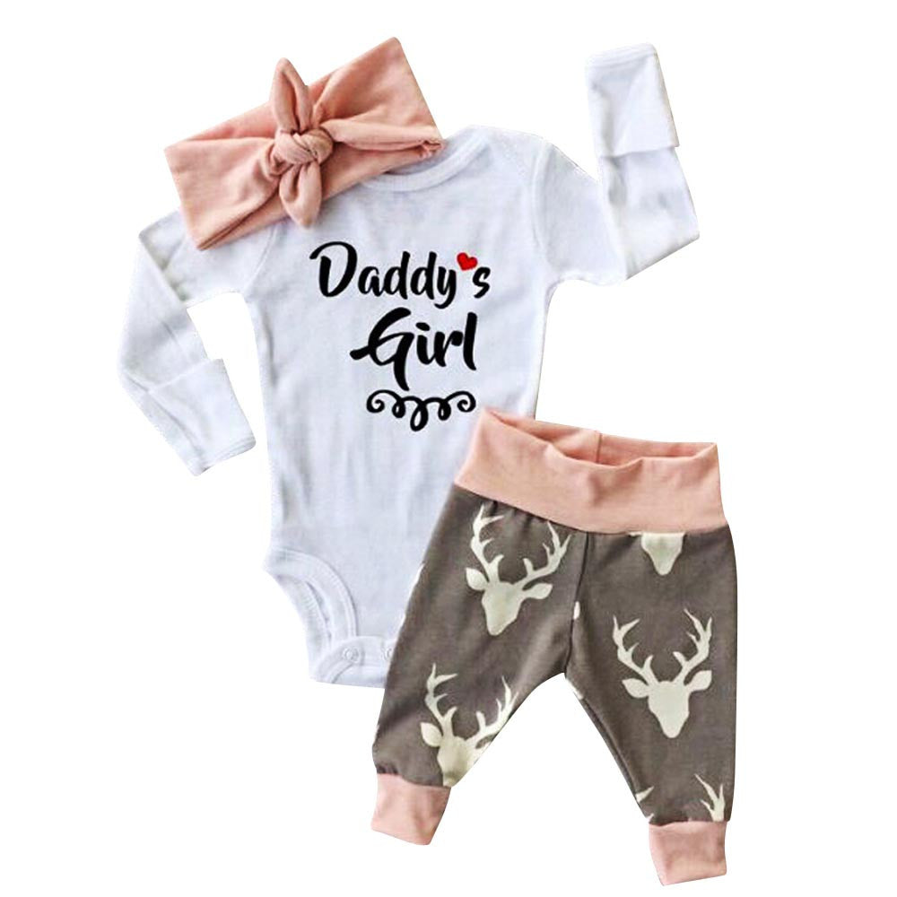 "Baby Girl ""Daddy's Girl"" Romper +Pants+Hairband Clothes Outfits Set, Rompers & Jumpsuits - Hug Hug Baby"