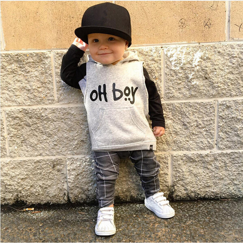 "Baby Boys ""OH Boy"" Hooded Tops+Pants Outfit Set, Sets - Hug Hug Baby"