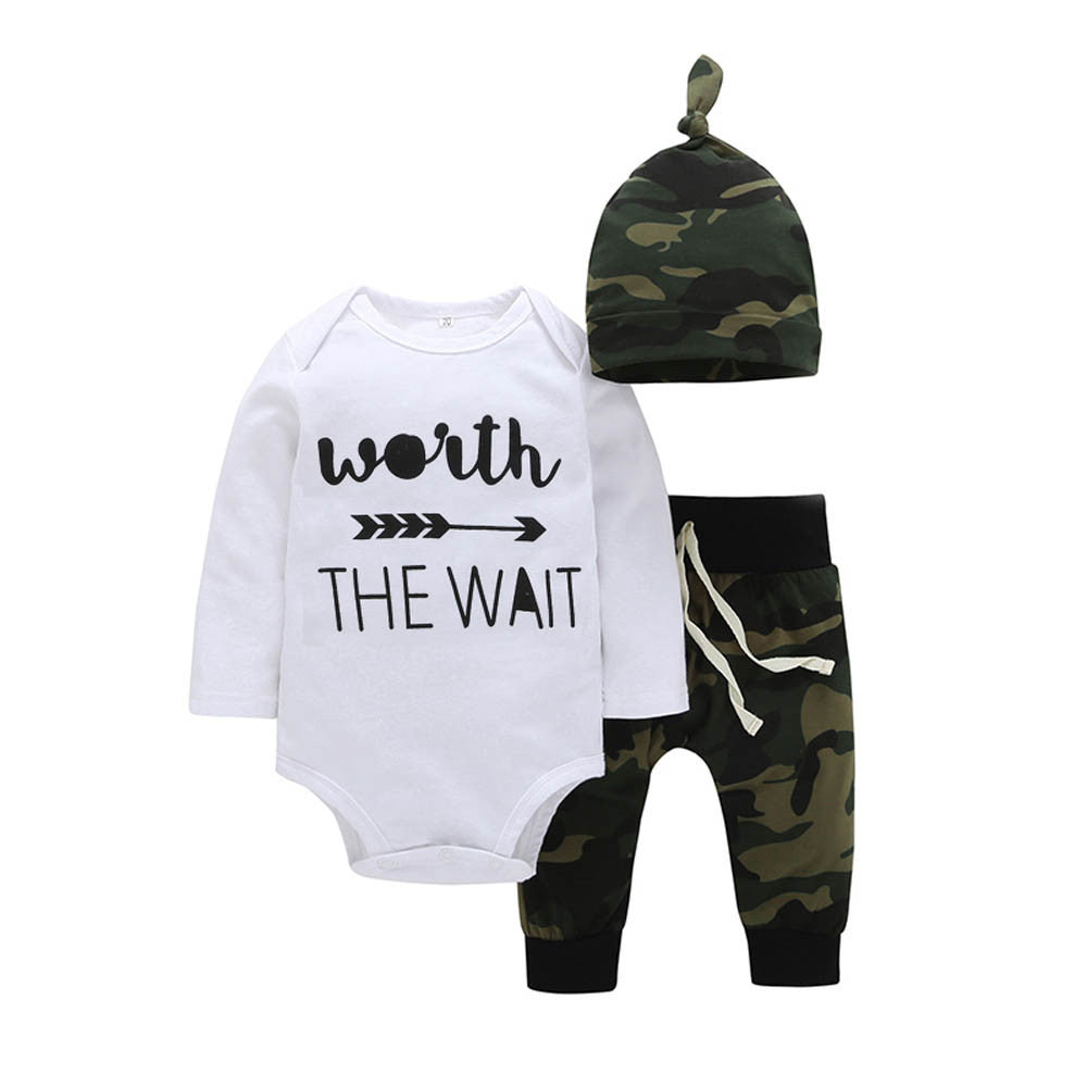"Army Green ""Worth The Wait"" Hat & Romper & Pants Outfits Set, Rompers & Jumpsuits - Hug Hug Baby"