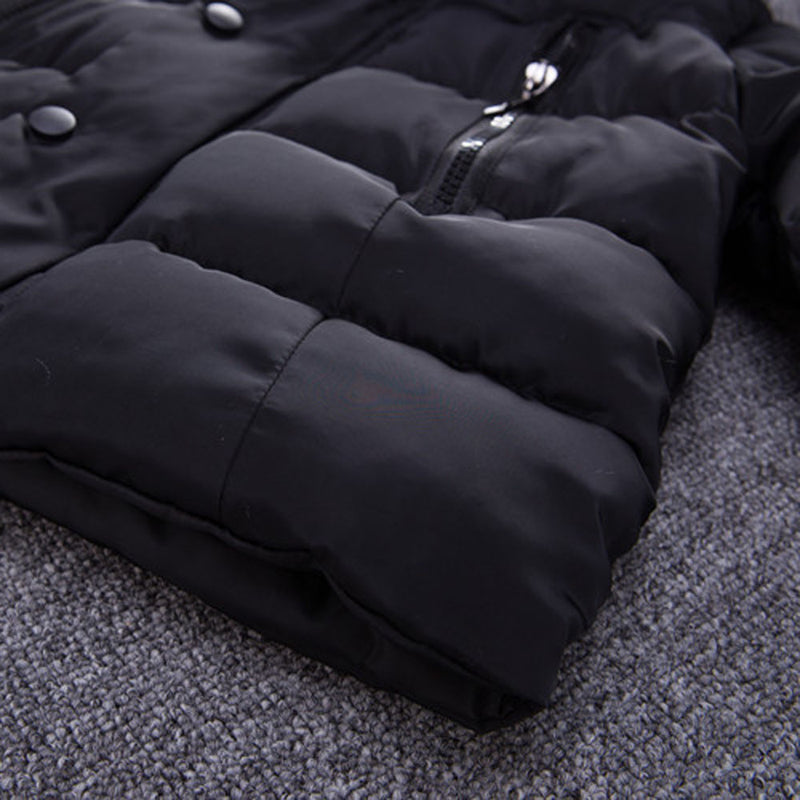Black Warm Zipper Hooded Coat Jacket 1-5Yrs, Jackets & Coats - Hug Hug Baby