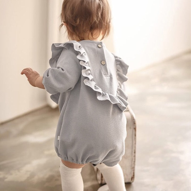 Long Sleeve Bib-Like Cotton Playsuit 9M - 3T, Rompers & Jumpsuits - Hug Hug Baby