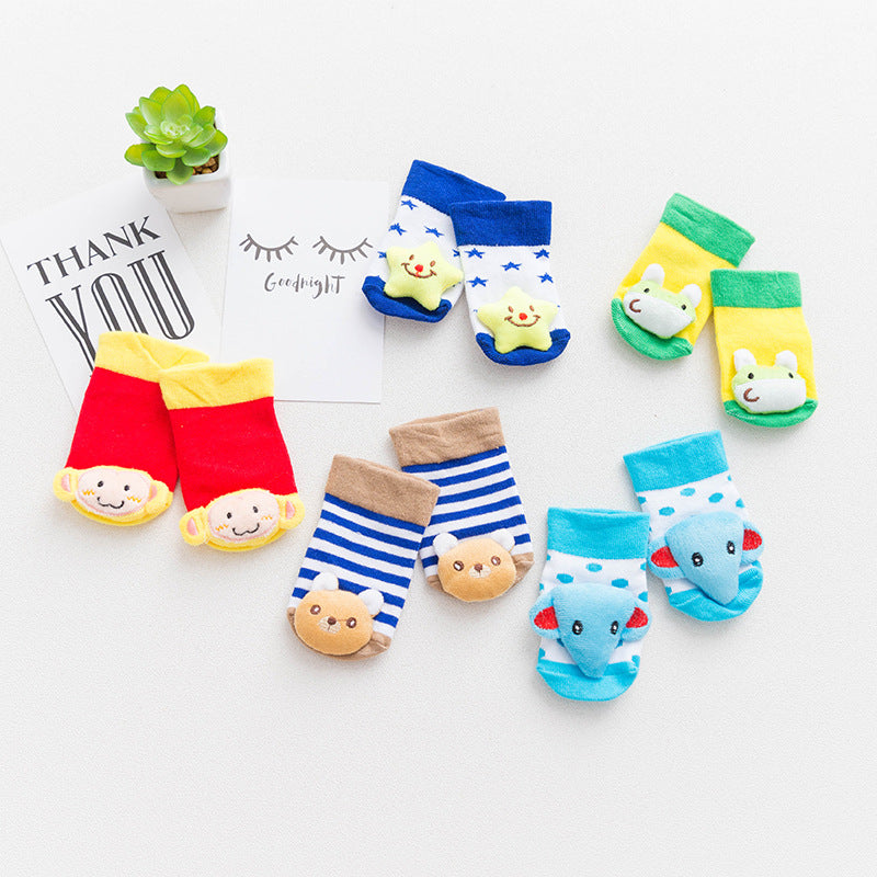 Cute 3D Cartoon Non-slip Rubber Soles Socks 0-1Yr, Socks - Hug Hug Baby