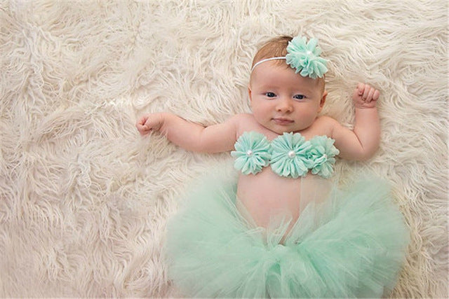 Newborn Photography Headband Chest Wrap Tutu Skirt Set, Photography - Hug Hug Baby