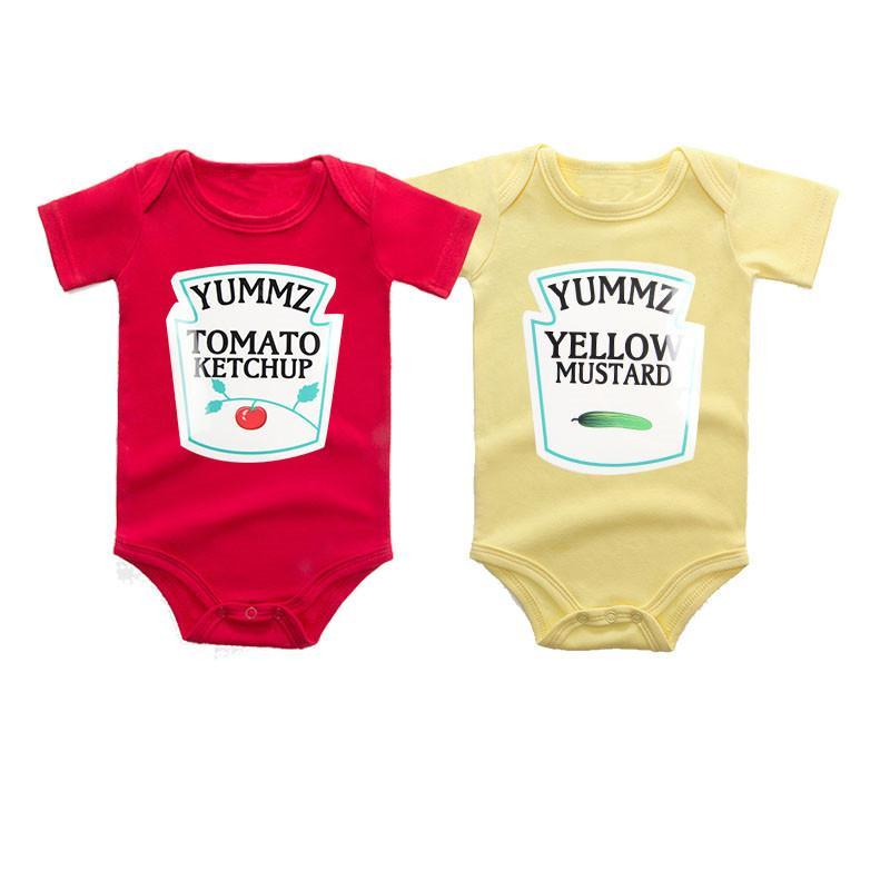 Tomato and Mustard Sauce Romper 2pc/set 3-12M, Rompers & Jumpsuits - Hug Hug Baby