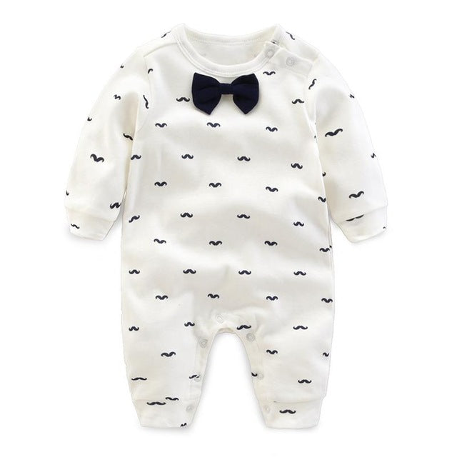 Cotton Long Sleeves Beard Pattern with Bow Romper 0-24M, Rompers & Jumpsuits - Hug Hug Baby