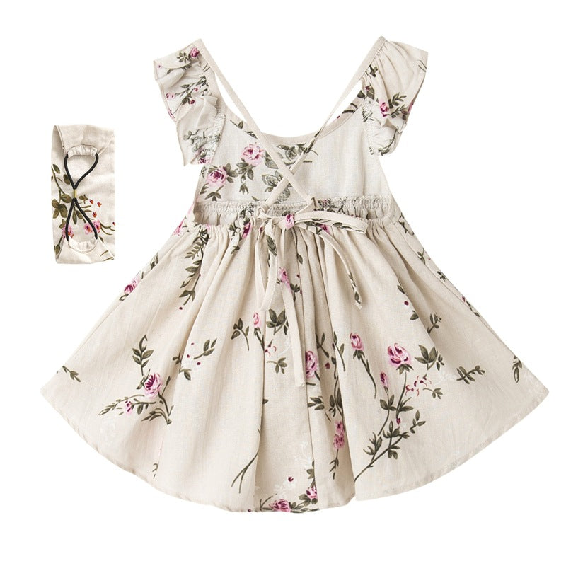 Summer Backless Floral Linen Dress With Hairband 1-6Yr, Dresses & Skirts - Hug Hug Baby