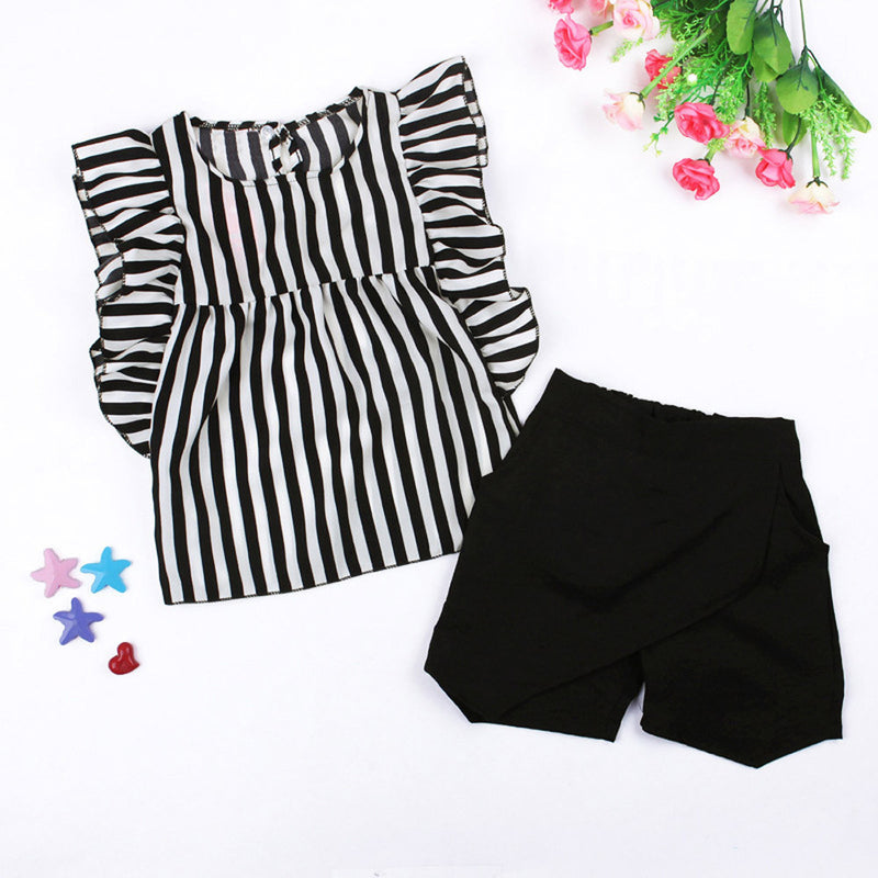 Girls Striped Sleeveless Top & Black Shorts Set, Sets - Hug Hug Baby