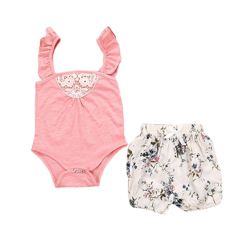 Baby Girls Pink Sleeveless Romper + Floral Shorts Set, Rompers & Jumpsuits - Hug Hug Baby
