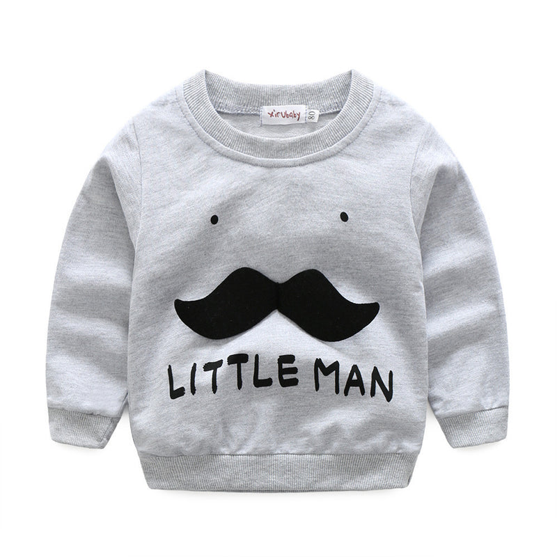 "Baby Boys ""Little Man"" Beard Face Top & Pants Clothes Set Outfit, Sets - Hug Hug Baby"