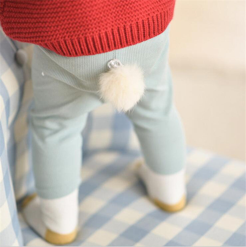 Knitted Cotton Pants with Little Tail 3-24M, Pants & Shorts - Hug Hug Baby