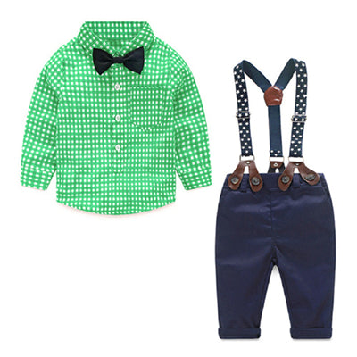 Gentleman Suit Plaid Shirt with Bow Tie, Suspender and Trousers Set 6-24M, Sets - Hug Hug Baby