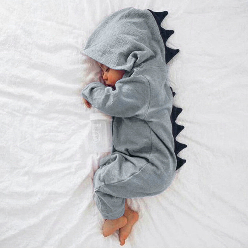 Warm Dinosaur Hooded Jumpsuit 0-24M, Rompers & Jumpsuits - Hug Hug Baby