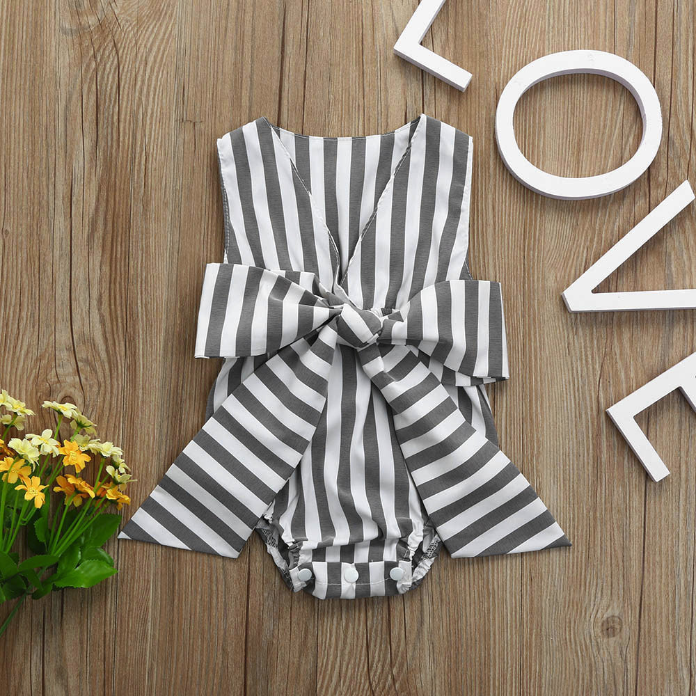 Baby Girls Striped Bow Sleeveless Jumpsuit Romper, Rompers & Jumpsuits - Hug Hug Baby