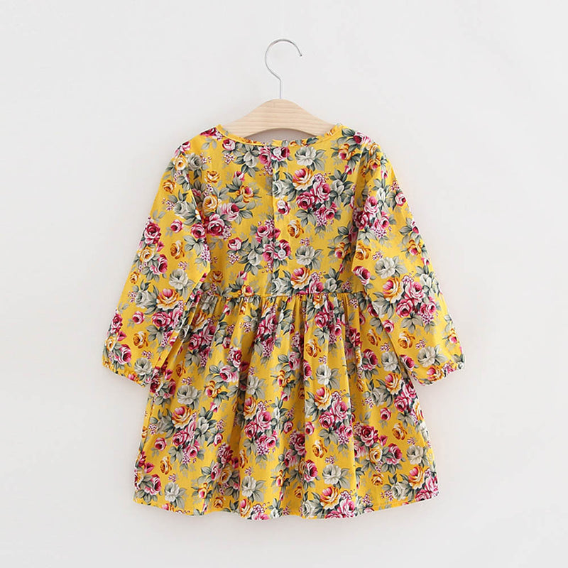 Baby Girls Long Sleeve Fully Floral Dress, Dresses & Skirts - Hug Hug Baby