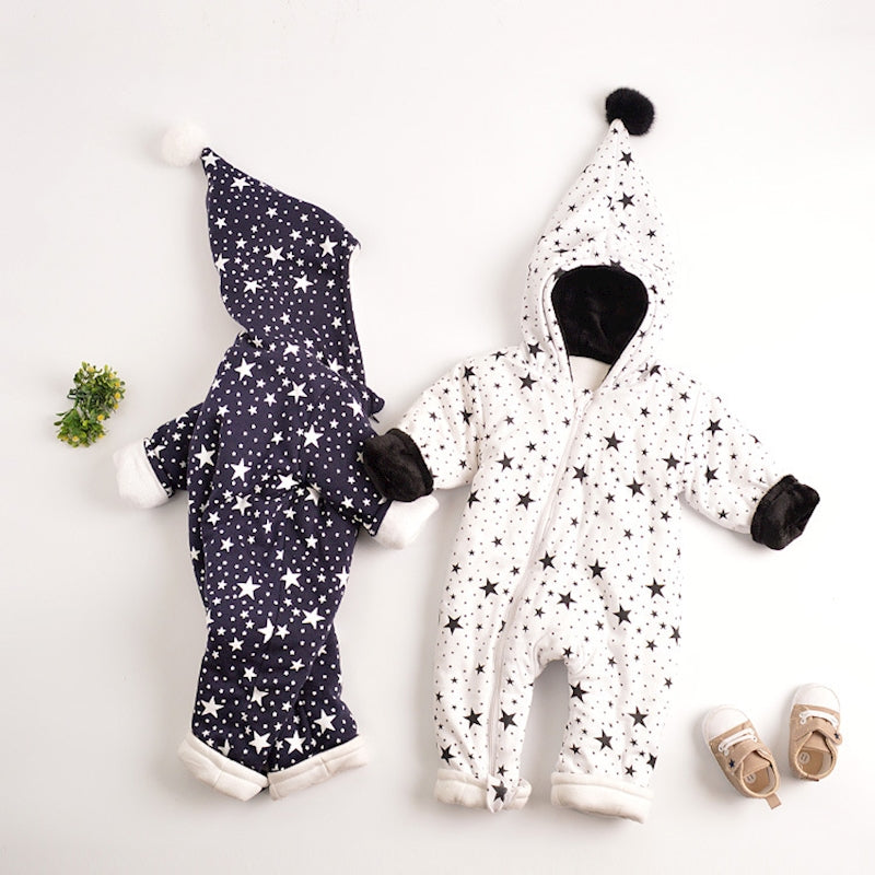 Stars Pattern Baby Warm Jumpsuit Outwear 3-12M, Rompers & Jumpsuits - Hug Hug Baby