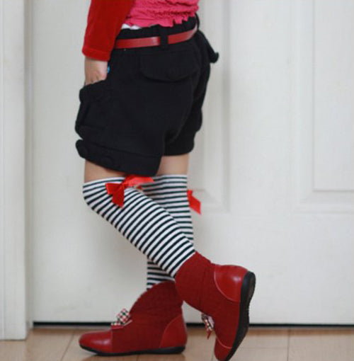 Stripped Knee High Socks with Bow, Socks - Hug Hug Baby