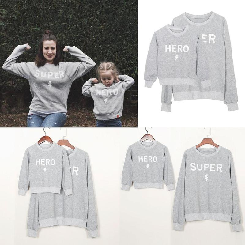 Super Hero Family Matching Letter Print Sweatshirt