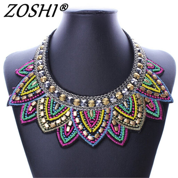 boho statement tribal Colorful necklace